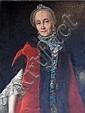 Ecole française XVIIIe. Portrait de femme à la fourrure. Toile. 80 x 62 cm