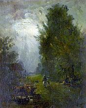 Constant TROYON (1810-1865) (Attribué à) Promeneurs en sous-bois. Huile sur toil