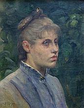 Julie FEURGARD (1859-1892) Portrait de femme. Huile sur toile signée en bas à ga