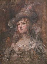 Ecole Hongroise du XIXe. Jeune femme au chapeau. Huile sur panneau. (fente et us