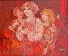 Daniel JAUGEY (1929). Rencontre. Hile sur toile signée en bas à droite, titrée a