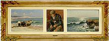 Marius REYNAUD (1860-1935). Vues des environs d'Alger. Trois huiles sur carton e