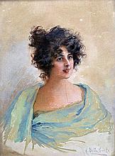 Aurelia DELLA CORTE SZVATEK XIX-XXe. Portrait de jeune femme. Aquarelle signée e