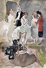 Marcel COSSON (1878-1956) Le foyer de l'Opéra. Aquarelle sur trait de crayon sig