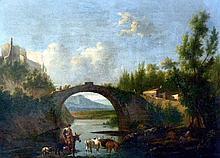Ecole hollandaise du XVIIIe. Vacher à cheval menant son troupeau à boire. Huile