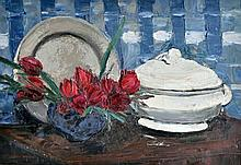 François-Emile DECORCHEMONT (1880-1971) Nature morte aux tulipes et soupière. Hu