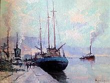 Narcisse HÉNOCQUE (1879-1952) Trois mâts devant la colline Sainte-Catherine à Ro
