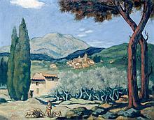 Ecole française XXe Berger devant le mas. Huile sur toile signée en bas à droite