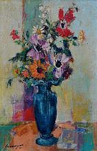 Marcel CRAMOYSAN (1915-2007) Vase de fleurs champêtres. Huile sur toile et datré