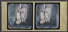 Félix-Jacques Antoine MOULIN [Attribué à] (1802-1875). Nu au tambourin et collie