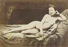Félix-Jacques Antoine MOULIN (1802-1875). Nu allongé souriant. 1852. Épreuve d'é