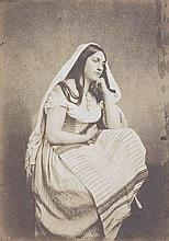 Jules MALACRIDA (actif 1840-1890). Étude d'après Nature : jeune femme assise à l