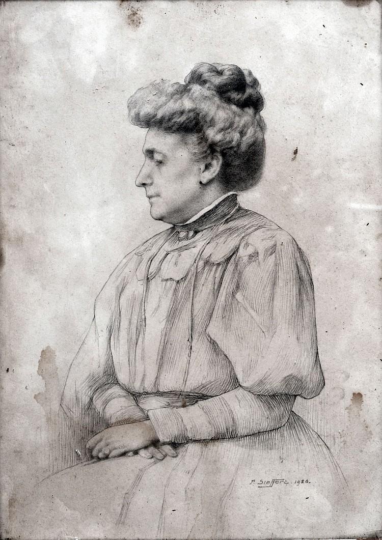 Paul SIEFFERT (1874-1957) Portrait de femme au chignon, 1926. Mine de plomb sign