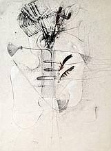 Christian d'ORGEIX (1927) Composition Technique mixte et plumes, signé en bas ve