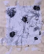 Christian d'ORGEIX (1927) Composition Technique mixte signée en bas à droite, au
