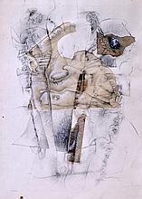 Christian d'ORGEIX (1927) Composition Crayon et collage signé en bas à gauche 31