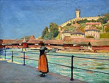 Harold M. MOTT-SMITH, XIXe Femme suisse au bord de la rivière. Huile sur toile s