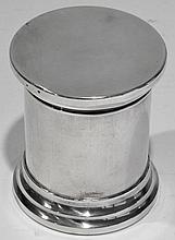 BOITE A CIGARETTES et à ALLUMETTES en argent, couverte, de forme cylindrique ave
