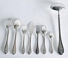 RAVINET D'ENFERT Partie de MENAGERE en métal argenté comprenant dix-huit CUILERE