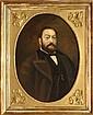 Ecole française fin XIXe. Portrait d'homme barbu. Cadre en bois stuqué et doré à