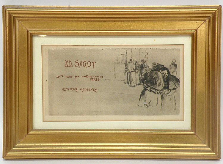 Edgar CHAHINE (1874-1947) Publicité pour Ed. Sagot. Eau-forte. 11 x 22 cm