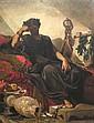 J. DORANGE XIXe-XXe Homme à la couronne de laurier enchaîné, 1894. Huile sur toi