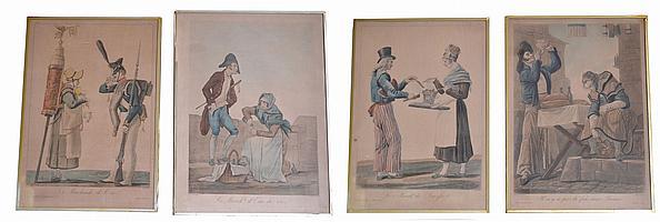 Carle VERNET (1758-1836)-DEBUCOURT. Suite de quatre gravures en couleurs: La mar