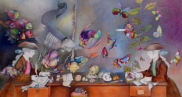 Jocelyne PACHE (1942) Les enfants de Chardin et poissons. Dessin à la mine de pl