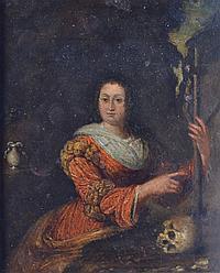 Ecole du XVIIIe Marie Madeleine montrant un crucifix auprès d'un crâne. Huile su