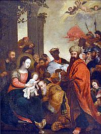 Ecole flamande du XVIIe. L'Adoration des mages. Toile. Restaurations. 81 x 62 cm