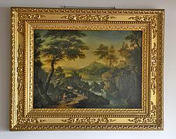 Ecole du XVIIIe siècle. Berger menant son troupeau dans un paysage animé d'un co