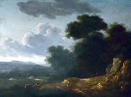 Lazare BRUANDET ( 1755-1804). Conversation dans un paysage. Huile sur panneau si