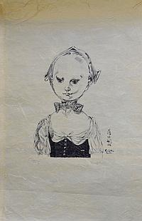Léonard Tsuguharu FOUJITA (1886-1968). Fillette au noeud papillon. Lithographie