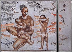 Milivoy UZELAC (1897-1977). Mère africaine et ses deux enfants. Technique mixte