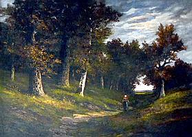 François MAURY (1861-1933). Promeneuse en sous-bois. Huile sur toile signée en b