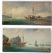 Pierre Julien GILBERT (1783-1860). Retours de pêche. Deux huiles sur panneaux fo