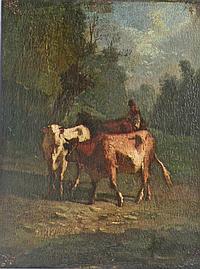 Antonio Cordero CORTES (1827-1908). Vaches et leur gardien dans un paysage. Huil
