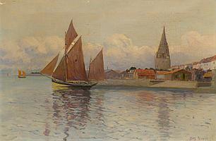 Max BOUVET (XIXe-XXe). Voilier sortant du port. Huile sur toile signée en bas à