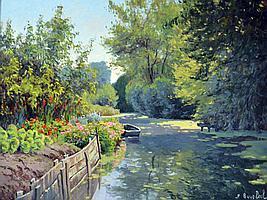 André VAN BEEK (1947) Les hortillonnages d'Amiens, 1992.  Huile sur toile signée