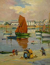Henri BURON (1880-1969). Discussion sur le port. Huile sur isorel signée en bas