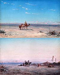 Paul B. PASCAL (1832-c.1903). Caravanes dans le désert, 1885. Paire d'aquarelles
