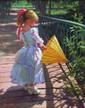 BALAKCHINE Eugène. Fillette à l'ombrelle. Huile sur toile. 50X40 cm