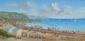 Gérald Marin. Les vacanciers à la mer. Huile sur toile. 20x40 cm