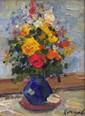 MARKOV Eugène. Le vase bleu. Huile sur carton. 15x20 cm