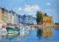 FILITOV Sergei. Honfleur - Bateaux à quai. Huile sur toile. 35x50 cm
