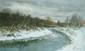 POUSSOVSKY Vladimir. Rivière en hiver. Huile sur carton. 15x24 cm
