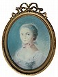 Ecole française XIXe dans le goût du XVIIIe. Portrait de jeunes femme à vue ovale. Pastel. (Accident). 47 x 40 cm cm