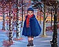 Madeleine de La GIRAUDIERE. née en 1922. Enfant à la pèlerine. huile sur toile signée.