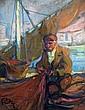 Louis FORTUNEY (1878-1950) Pêcheur et filet. Pastel signé en bas à gauche. 31,5 x 24 cm