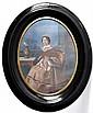 Ecole française XIXe. Femme assise à l'éventail. Gouache à vue ovale. 23 x 17 cm